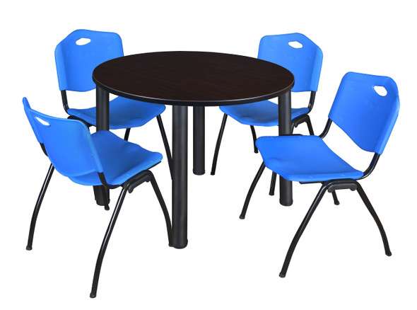 """Kee 48"""" Round Breakroom Table- Mocha Walnut/ Black & 4 'M' Stack Chairs- Blue"""
