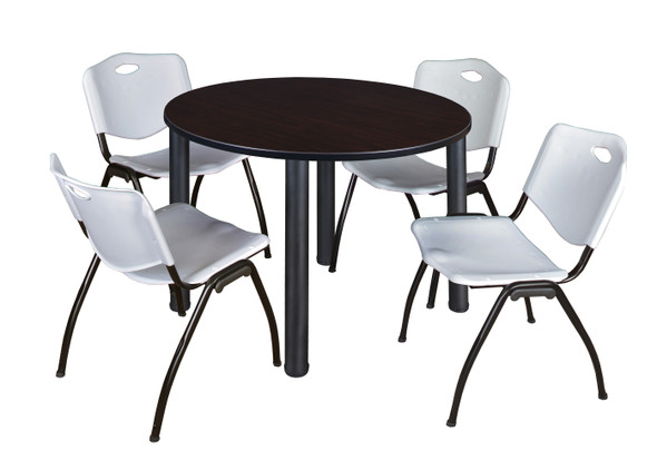 """Kee 48"""" Round Breakroom Table- Mocha Walnut/ Black & 4 'M' Stack Chairs- Grey"""