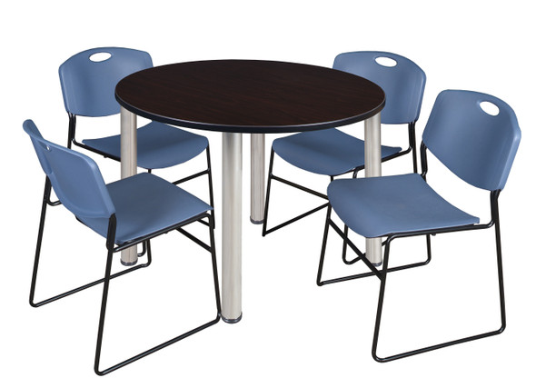 """Kee 48"""" Round Breakroom Table- Mocha Walnut/ Chrome & 4 Zeng Stack Chairs- Blue"""