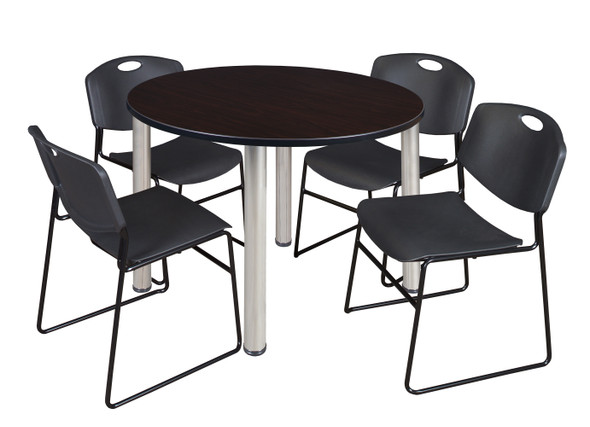 """Kee 48"""" Round Breakroom Table- Mocha Walnut/ Chrome & 4 Zeng Stack Chairs- Black"""