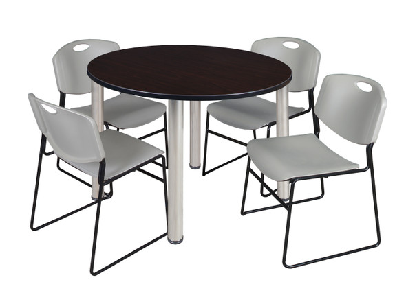 """Kee 48"""" Round Breakroom Table- Mocha Walnut/ Chrome & 4 Zeng Stack Chairs- Grey"""
