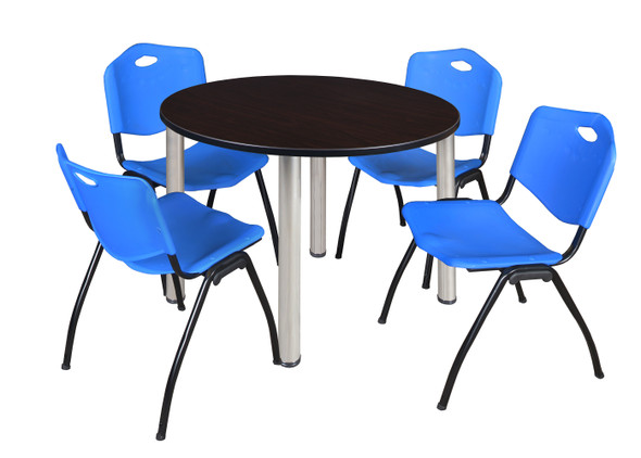 """Kee 48"""" Round Breakroom Table- Mocha Walnut/ Chrome & 4 'M' Stack Chairs- Blue"""