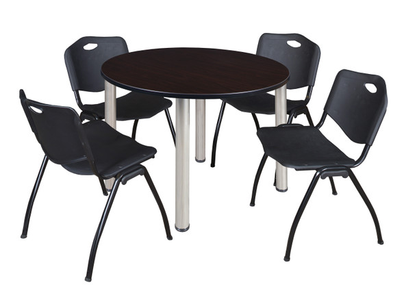 """Kee 48"""" Round Breakroom Table- Mocha Walnut/ Chrome & 4 'M' Stack Chairs- Black"""