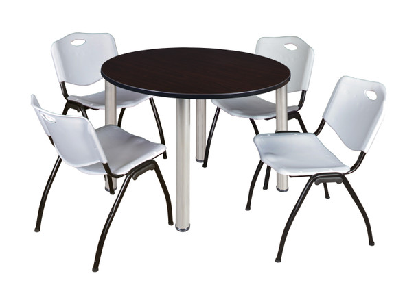 """Kee 48"""" Round Breakroom Table- Mocha Walnut/ Chrome & 4 'M' Stack Chairs- Grey"""