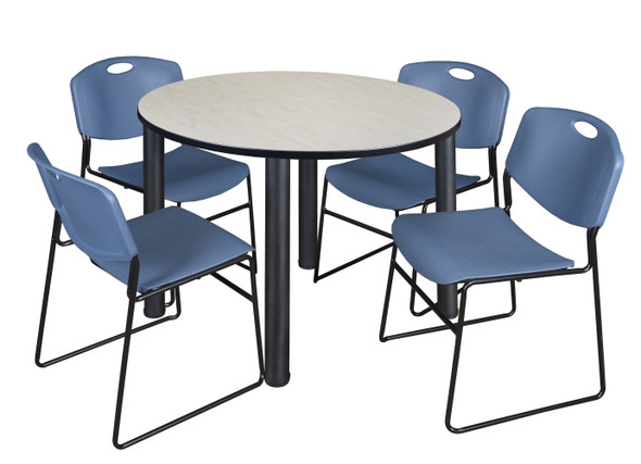 """Kee 48"""" Round Breakroom Table- Maple/ Black & 4 Zeng Stack Chairs- Blue"""