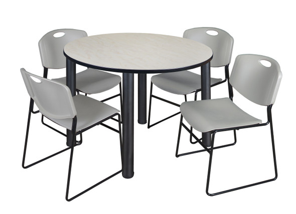"""Kee 48"""" Round Breakroom Table- Maple/ Black & 4 Zeng Stack Chairs- Grey"""