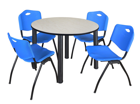 """Kee 48"""" Round Breakroom Table- Maple/ Black & 4 'M' Stack Chairs- Blue"""