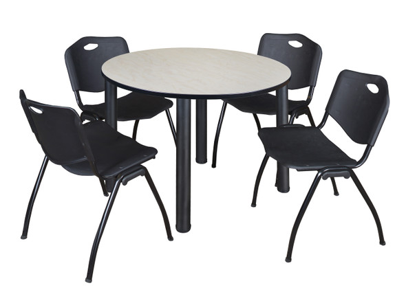 """Kee 48"""" Round Breakroom Table- Maple/ Black & 4 'M' Stack Chairs- Black"""