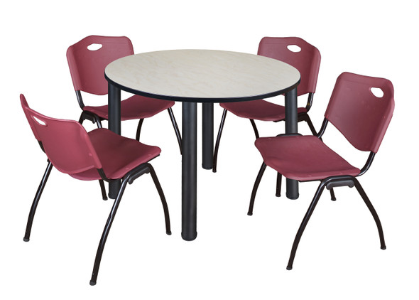 """Kee 48"""" Round Breakroom Table- Maple/ Black & 4 'M' Stack Chairs- Burgundy"""