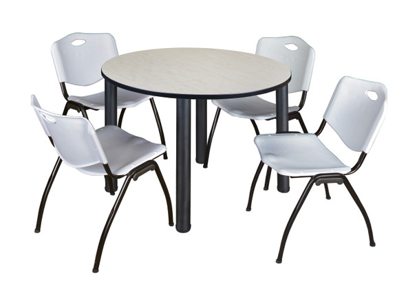 """Kee 48"""" Round Breakroom Table- Maple/ Black & 4 'M' Stack Chairs- Grey"""