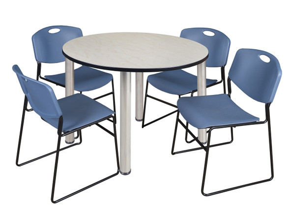 """Kee 48"""" Round Breakroom Table- Maple/ Chrome & 4 Zeng Stack Chairs- Blue"""