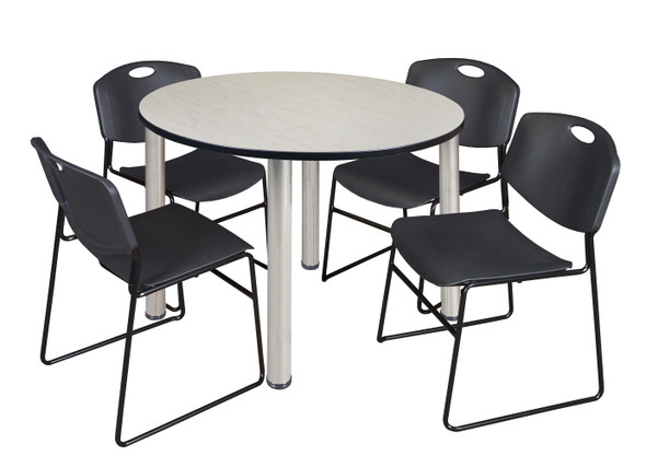 """Kee 48"""" Round Breakroom Table- Maple/ Chrome & 4 Zeng Stack Chairs- Black"""