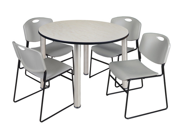 """Kee 48"""" Round Breakroom Table- Maple/ Chrome & 4 Zeng Stack Chairs- Grey"""