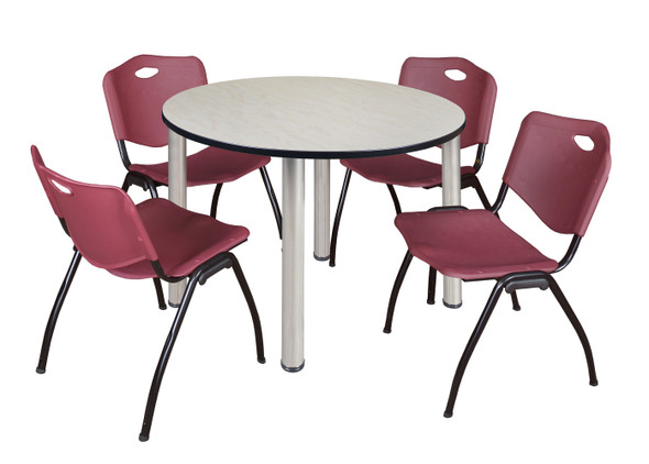 """Kee 48"""" Round Breakroom Table- Maple/ Chrome & 4 'M' Stack Chairs- Burgundy"""