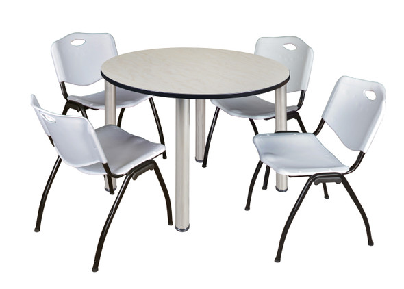 """Kee 48"""" Round Breakroom Table- Maple/ Chrome & 4 'M' Stack Chairs- Grey"""