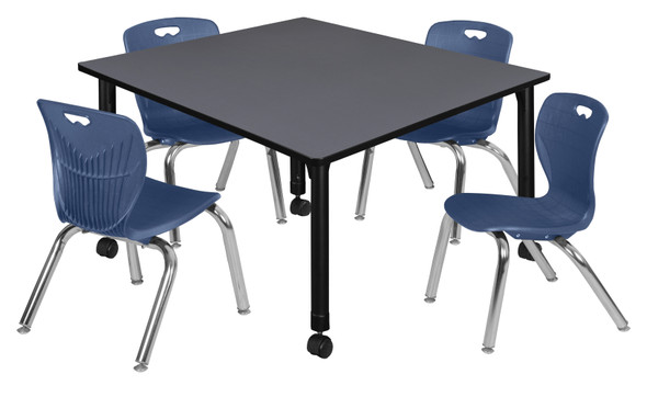 """Kee 48"""" Square Height Adjustable Mobile Classroom Table - Grey &  4 Andy 12-in Stack Chairs- Navy Blue"""