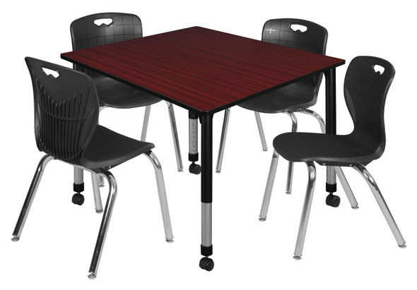 """Kee 48"""" Square Height Adjustable Moblie Classroom Table - Mahogany & 4 Andy 18-in Stack Chairs- Black"""