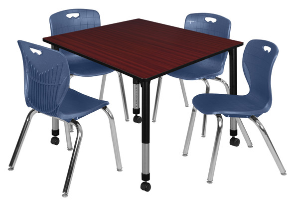 """Kee 48"""" Square Height Adjustable Moblie Classroom Table - Mahogany & 4 Andy 18-in Stack Chairs- Navy Blue"""