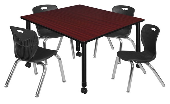 """Kee 48"""" Square Height Adjustable Moblie Classroom Table - Mahogany & 4 Andy 12-in Stack Chairs- Black"""