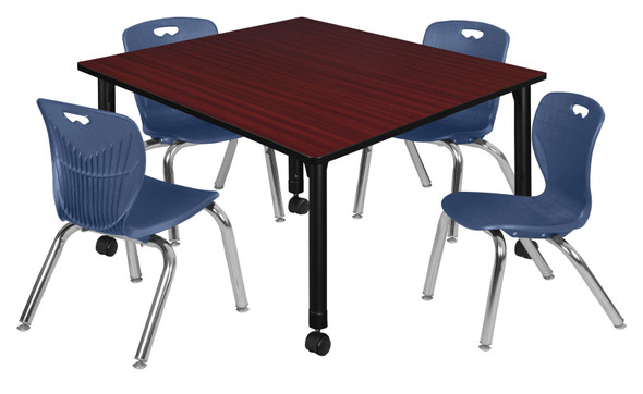 """Kee 48"""" Square Height Adjustable Moblie Classroom Table - Mahogany & 4 Andy 12-in Stack Chairs- Navy Blue"""