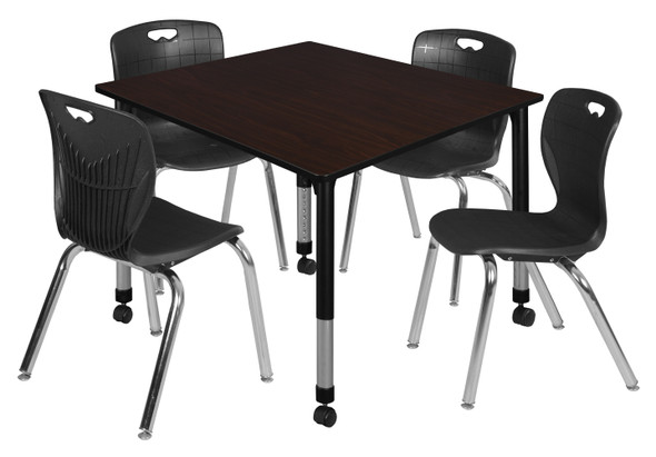 """Kee 48"""" Square Height Adjustable Mobile Classroom Table - Mocha Walnut & 4 Andy 18-in Stack Chairs- Black"""