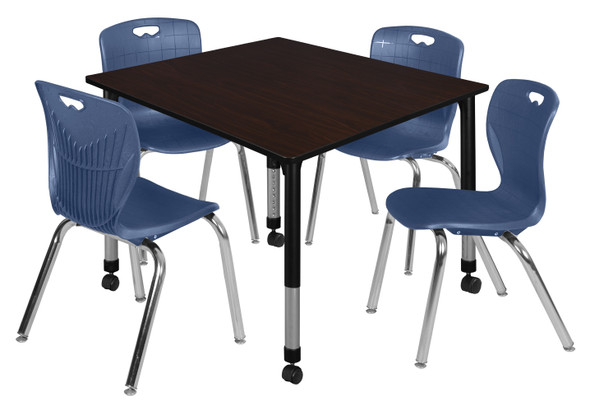 """Kee 48"""" Square Height Adjustable Mobile Classroom Table - Mocha Walnut & 4 Andy 18-in Stack Chairs- Navy Blue"""