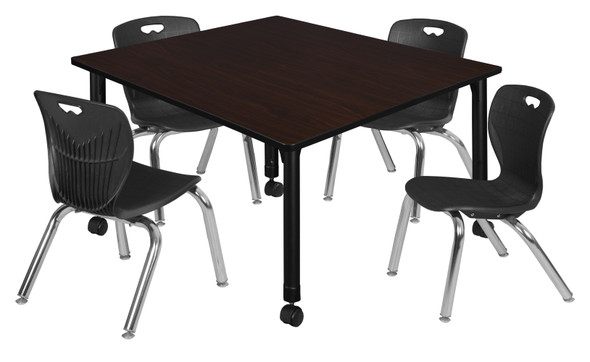"""Kee 48"""" Square Height Adjustable Mobile Classroom Table - Mocha Walnut & 4 Andy 12-in Stack Chairs- Black"""