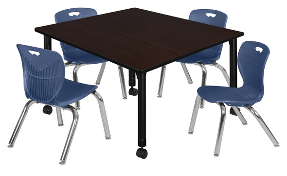 """Kee 48"""" Square Height Adjustable Mobile Classroom Table - Mocha Walnut & 4 Andy 12-in Stack Chairs- Navy Blue"""