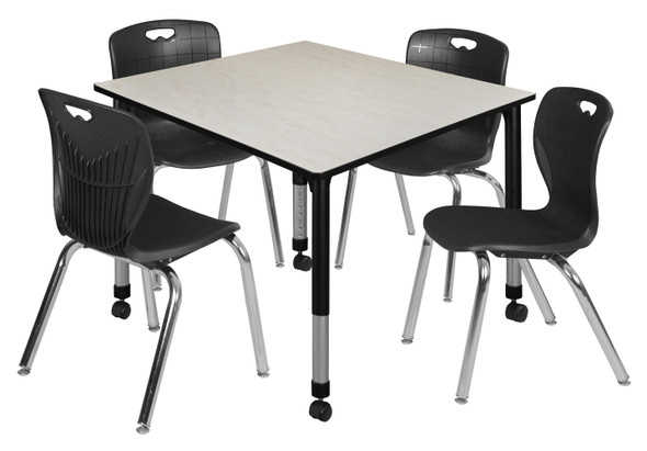 """Kee 48"""" Square Height Adjustable Mobile Classroom Table - Maple & 4 4 Andy 18-in Stack Chairs- Black"""