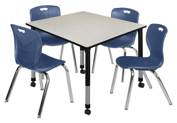 """Kee 48"""" Square Height Adjustable Mobile Classroom Table - Maple & 4 4 Andy 18-in Stack Chairs- Navy Blue"""
