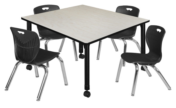 """Kee 48"""" Square Height Adjustable Mobile Classroom Table - Maple & 4 4 Andy 12-in Stack Chairs- Black"""