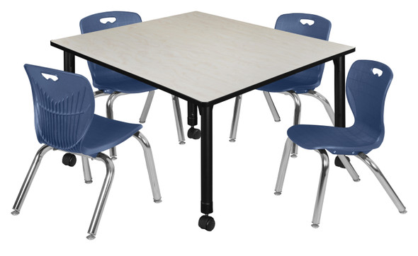 """Kee 48"""" Square Height Adjustable Mobile Classroom Table - Maple & 4 4 Andy 12-in Stack Chairs- Navy Blue"""