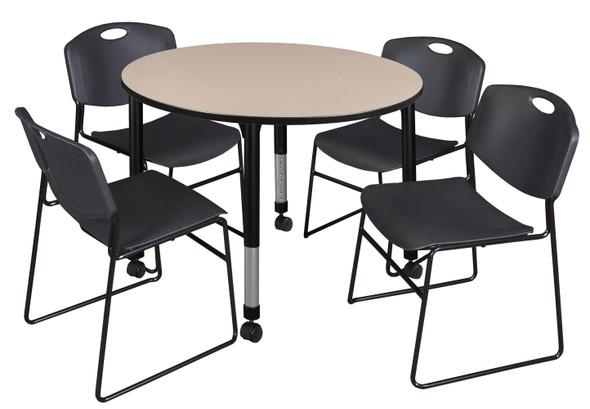 """Kee 48"""" Round Height Adjustable Mobile  Classroom Table - Beige & 4 Zeng Stack Chairs- Black"""