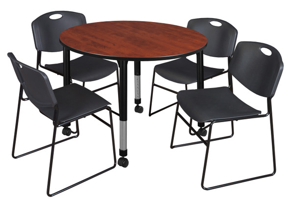 """Kee 48"""" Round Height Adjustable  Mobile Classroom Table - Cherry & 4 Zeng Stack Chairs- Black"""
