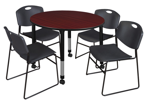 """Kee 48"""" Round Height Adjustable Mobile Classroom Table - Mahogany & 4 Zeng Stack Chairs- Black"""