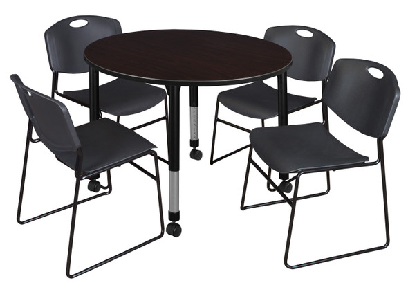 """Kee 48"""" Round Height Adjustable Mobile Classroom Table - Mocha Walnut & 4 Zeng Stack Chairs- Black"""