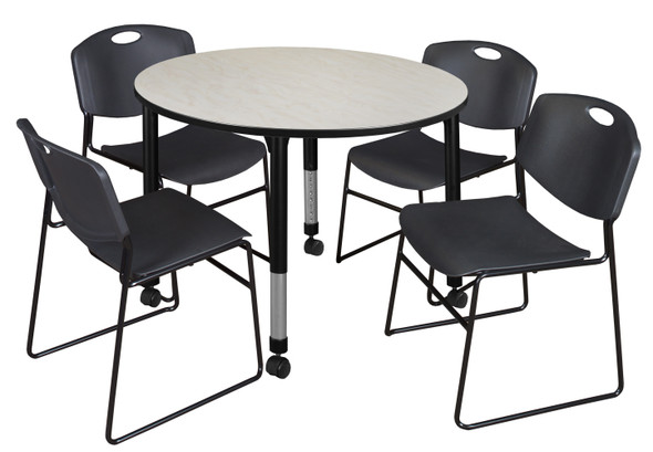 """Kee 48"""" Round Height Adjustable Mobile Classroom Table - Maple & 4 Zeng Stack Chairs- Black"""