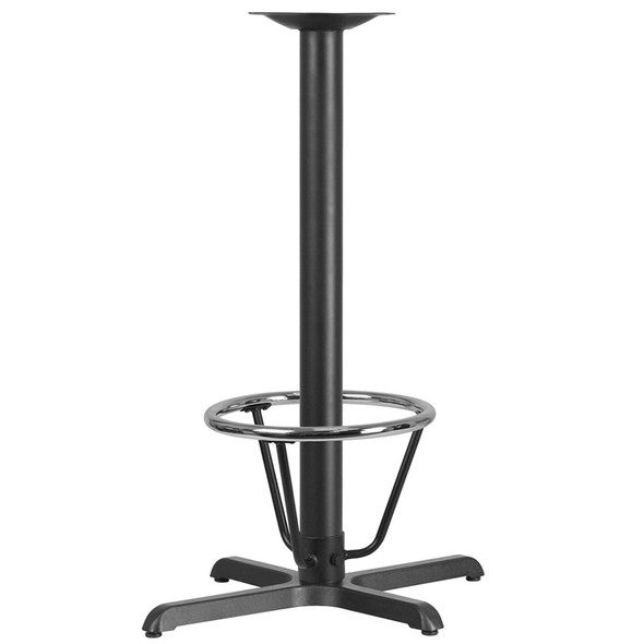22'' x 30'' Restaurant Table X-Base with 3'' Dia. Bar Height Column and Foot Ring