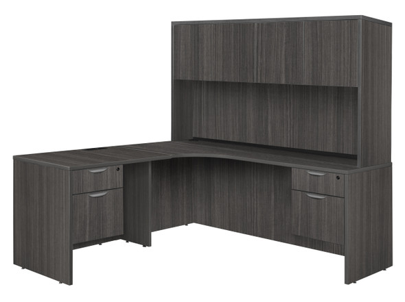 """Legacy 71"""" Double Pedestal Left Corner Credenza with 35"""" Return and Hutch- Ash Grey"""