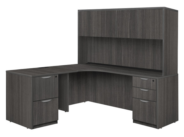 """Legacy 71"""" Double Full Pedestal Left Corner Credenza with 35"""" Return and Hutch- Ash Grey"""