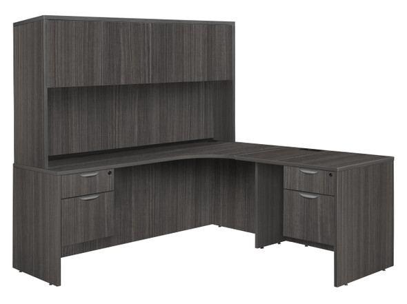 """Legacy 71"""" Double Pedestal Right Corner Credenza with 35"""" Return and Hutch- Ash Grey"""