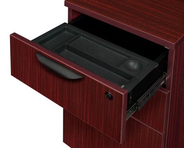 """Legacy 71"""" Double Pedestal Right Corner Credenza with 35"""" Return and Hutch- Mahogany"""