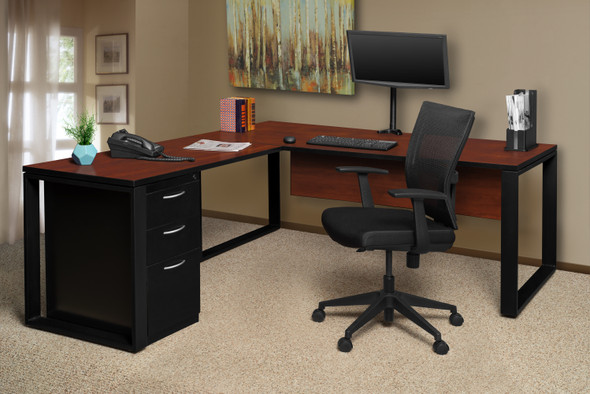 """Structure 66"""" x 30"""" L-Desk Shell with 42"""" Return- Cherry/Black"""