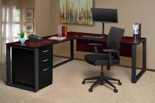"""Structure 66"""" x 30"""" L-Desk Shell with 48"""" Return- Mahogany/Black"""