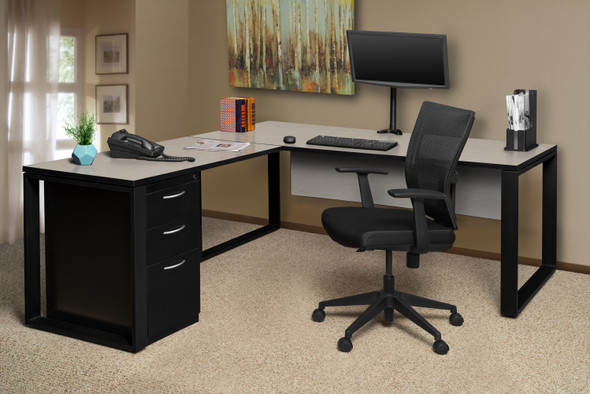 """Structure 72"""" x 30"""" L-Desk Shell with 42"""" Return- Maple/Black"""
