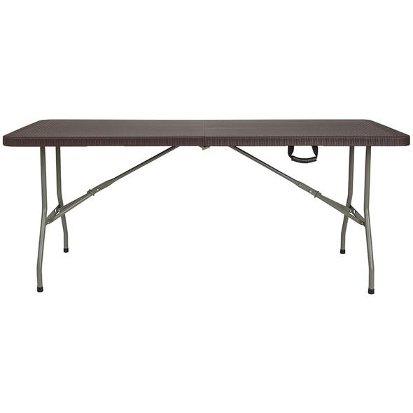 29''W x 71''L Bi-Fold Brown Rattan Plastic Folding Table