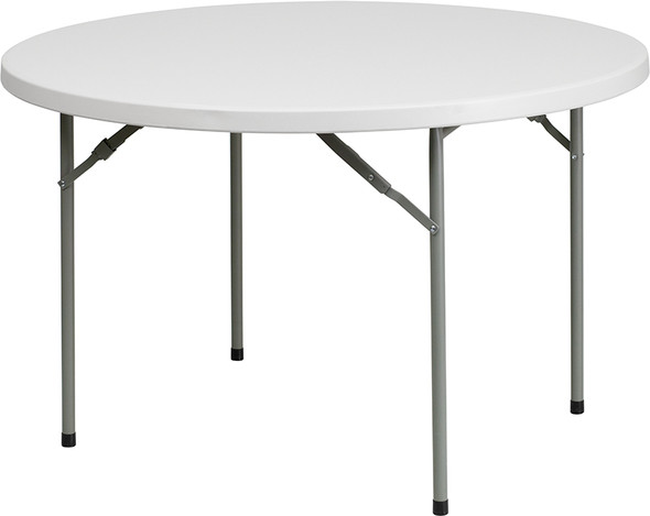 48'' Round Granite White Plastic Folding Table