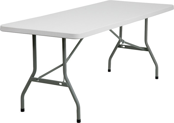 30''W x 72''L Granite White Plastic Folding Table