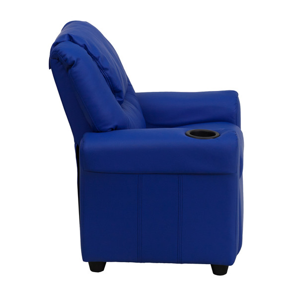 Contemporary Blue Vinyl Kids Recliner with Cup Holder and Headrest