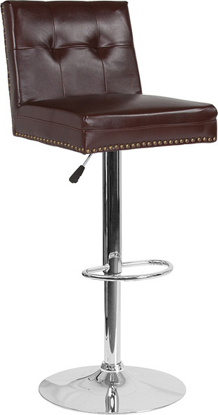 Ravello Contemporary Adjustable Height Barstool with Accent Nail Trim in Brown Leather